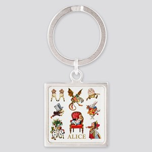 Alice_In Wonderland_GOLD Square Keychain
