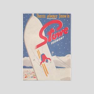 Stowe Vermont Vintage Ski Travel 5'x7'area