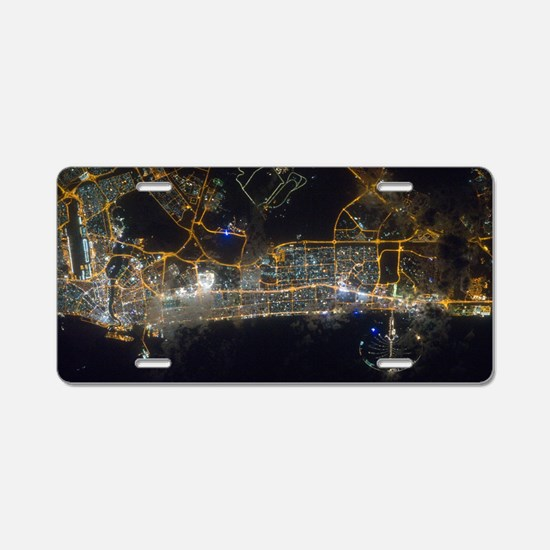 Dubai At Night From Space Aluminum License Plate