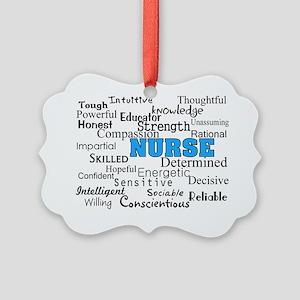 nurse describing blue Picture Ornament