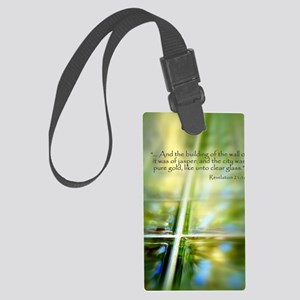 Glass Cross Revelation 21:18 Large Luggage Tag