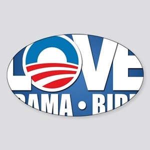 LOVE Obama Biden Sticker (Oval)