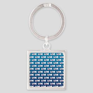 LOVE Obama Pattern Square Keychain
