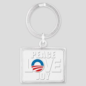 OBAMA Peace Love Joy Landscape Keychain