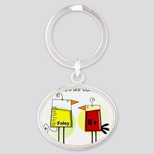 Nurse foley blood bag birds Oval Keychain