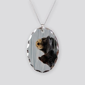 TabletSleeve_seaotter_2 Necklace Oval Charm