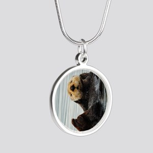 TabletSleeve_seaotter_2 Silver Round Necklace