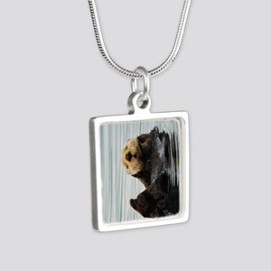 TabletSleeve_seaotter_2 Silver Square Necklace