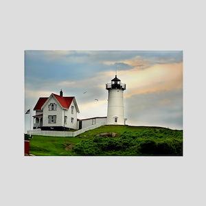 Nubble Lighthouse Rectangle Magnet