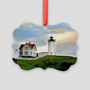 Nubble Lighthouse Picture Ornament