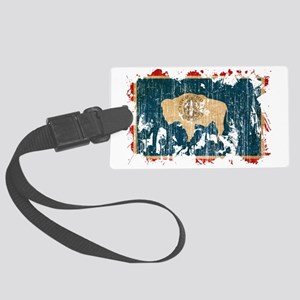 Wyoming textured splatter aged c Large Luggage Tag
