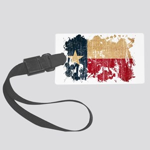 Texas textured splatter aged cop Large Luggage Tag