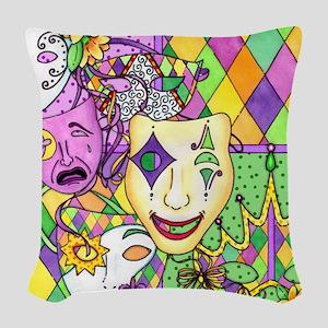 Mardi Gras Masks Flip Flops Woven Throw Pillow
