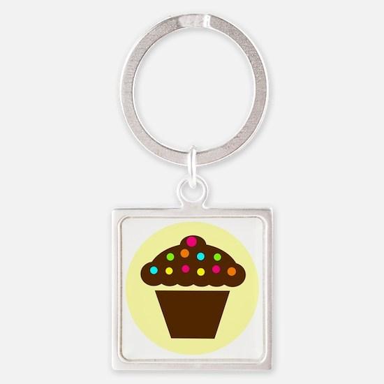 cupcake brown Square Keychain