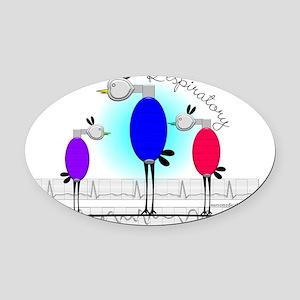 Respiratory 3 birds Oval Car Magnet