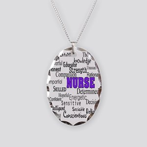 ff nurse purple Necklace Oval Charm