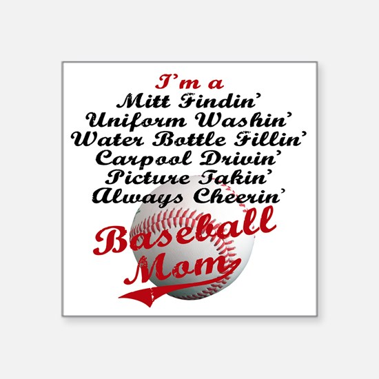 "Baseball_Mom Square Sticker 3"" x 3"""