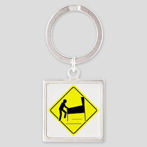 Funny - Caution Pinball Wizard Pla Square Keychain