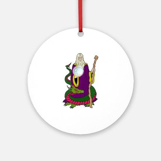 Wizard & Dragon Ornament (Round)
