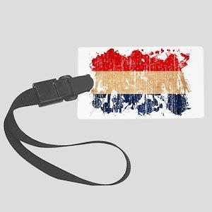 Netherlands textured splatter ag Large Luggage Tag