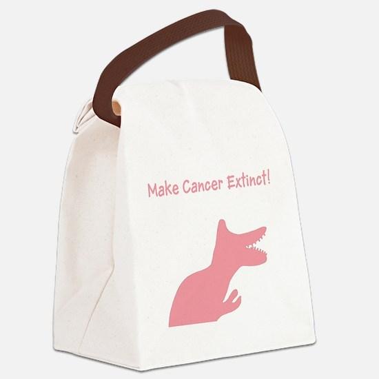 Pink Dinosaur Make Cancer Extinct Canvas Lunch Bag
