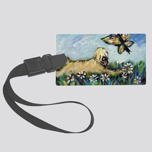 Wheaten Terrier butterfly Large Luggage Tag