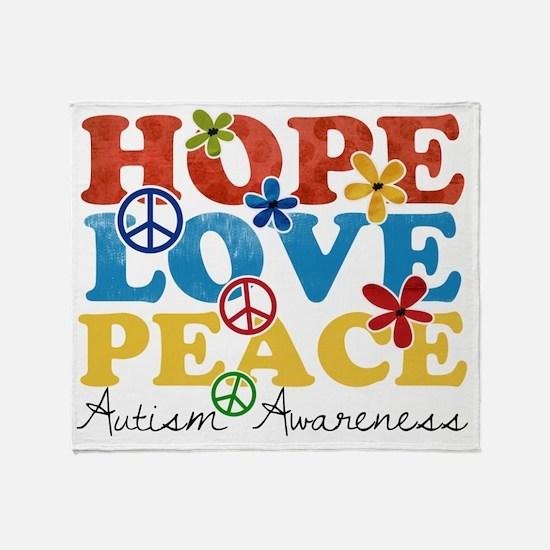 Hope, Love, Peace Autism Awareness Throw Blanket