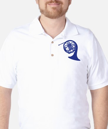 blue french horn Golf Shirt