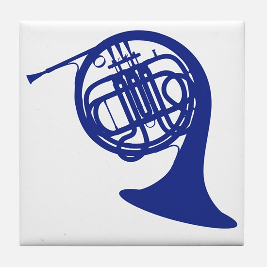 blue french horn Tile Coaster