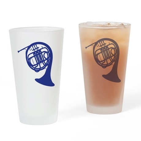 blue french horn Drinking Glass