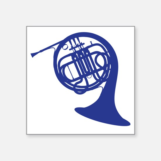 "blue french horn Square Sticker 3"" x 3"""