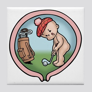 golf-womb-T Tile Coaster