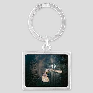 Owl at Midnight Landscape Keychain