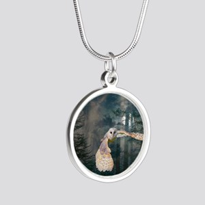 Owl at Midnight Silver Round Necklace