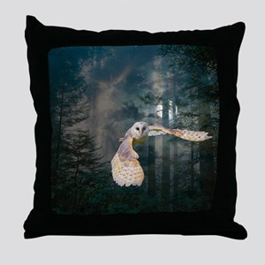 Owl at Midnight Throw Pillow