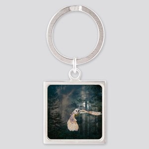 Owl at Midnight Square Keychain