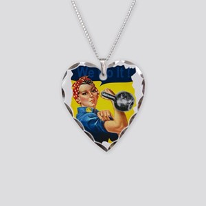 We Can Do It Kettlebells Necklace Heart Charm