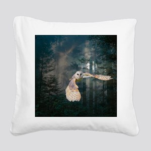 Owl at Midnight Square Canvas Pillow