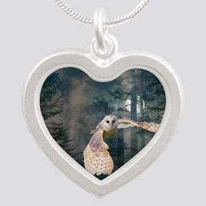 Owl at Midnight Silver Heart Necklace