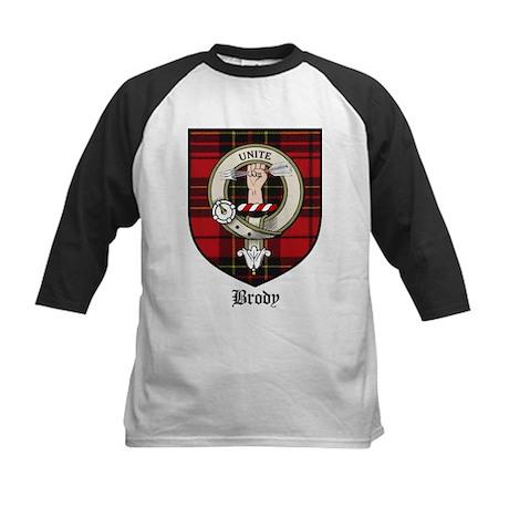 Brody Clan Crest Tartan Kids Baseball Jersey