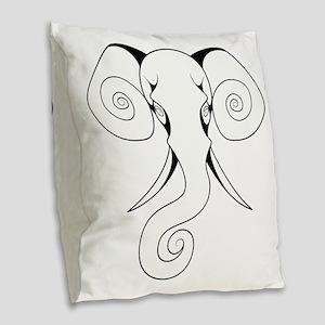 Swirly Elephant Burlap Throw Pillow