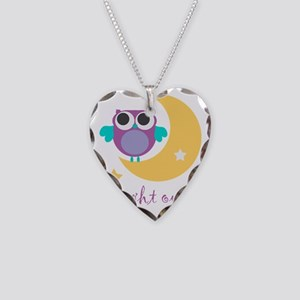 night owl with moon and stars Necklace Heart Charm
