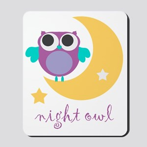 night owl with moon and stars Mousepad