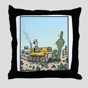 Cactus giving the Finger Throw Pillow