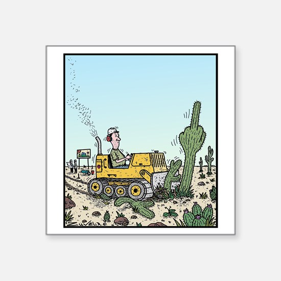 """Cactus giving the Finger Square Sticker 3"""" x 3"""""""