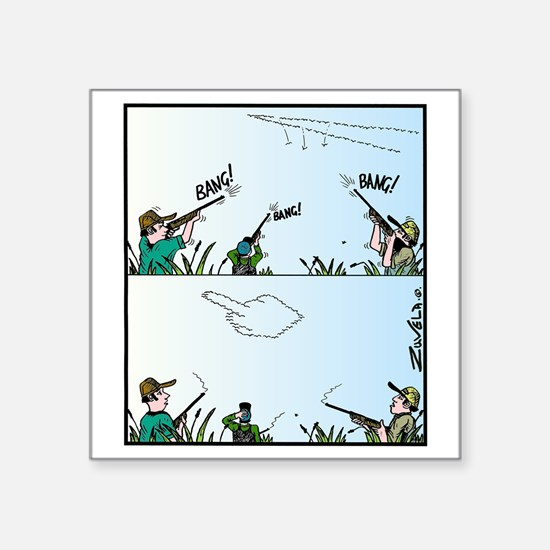 "Birds giving the Finger Square Sticker 3"" x 3"""