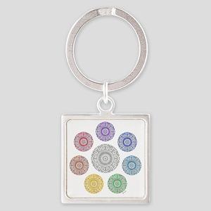 seven chakra circle Square Keychain