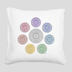 seven chakra circle Square Canvas Pillow