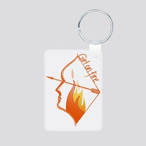 Girl on Fire Aluminum Photo Keychain