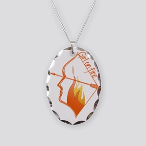 Girl on Fire Necklace Oval Charm